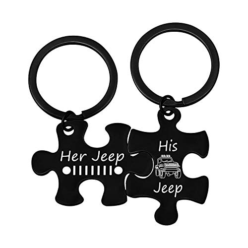 G-Ahora Lover Gifts Keychain Couple Puzzle Keychain Her His Gift for Wrangler Owner Keyring