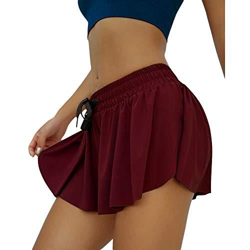 BUXIANGGAN Shorts Pantalones Cortos Mujer Women's Fake Two Piece Yoga Shorts Anti-Vacuum Sports Tights For Running Fitness Abdominal Pockets-Wine_Red_3XL