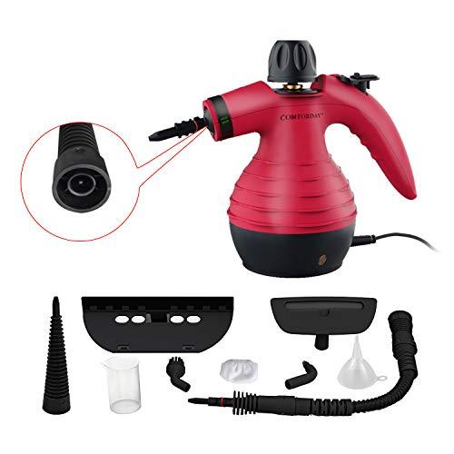 Comforday Tragbarer Mehrzweck-Dampfreiniger Handgerät mit 9 Zubehörteilen zur Fleckenentfernung, Teppichen, Vorhängen, Küchenoberflächen, Autositzen und mehr, Rot (EU Stecker)
