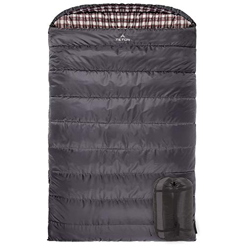 TETON Sports Fahrenheit Mammoth +20F Queen-Size Double Sleeping Bag; Warm and Comfortable; Double...