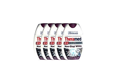 5x Theramed Non-Stop White Antibakterieller-schutz 2 in1 Zahncreme Mundspülung