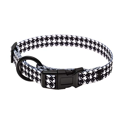 Mile High Life | Dog Collar | Cute Patterns | Soft Smooth Fabric | Small/Medium/Large (Black White, Small Neck 11