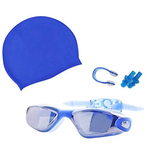 FiedFikt Schwimmbrille, UV-Schutz, Anti-Beschlag, kein Auslaufen, Weitblick, Schwimmbrille mit Ohrstöpsel, Nasenklammer und Schwimmhut, Schutz-Set für Damen, Herren, Erwachsene, Jugendliche blau