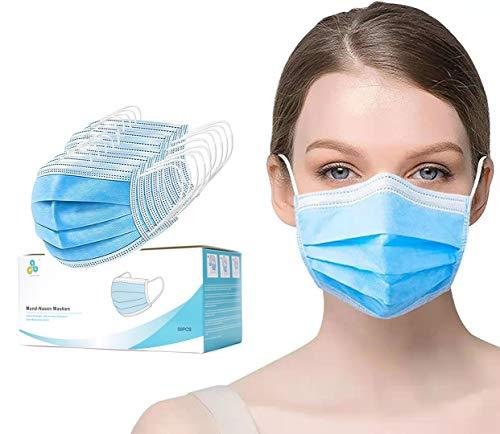 Maske Mundschutz Mund- und Nasen Masken 3-Lagig aus weichen Vlies Schutzmasken Alltagsmasken bequem CALIYO®ANETHESIA® 50er Packung