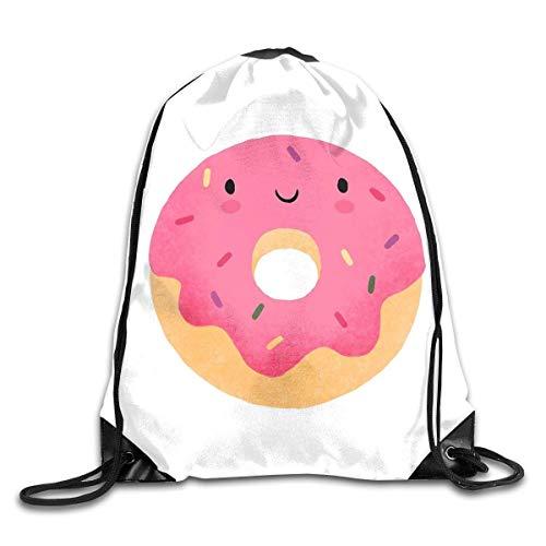 Lawenp Happy Donut Drawstring Bag, Sports Cinch Sacks String Drawstring Backpack for Picnic Gym Sport Beach Yoga