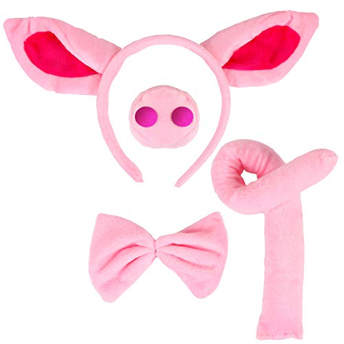 Animal Costume Set Pig Ears Headband Pig Nose Tail and Bow Tie Animal Fancy Costume Kit Party Accessories