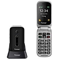 Teléfono Móvil Funker C75 Negro Easy Comfort con Tapa para Personas Mayores con botón SOS y Base cargadora.