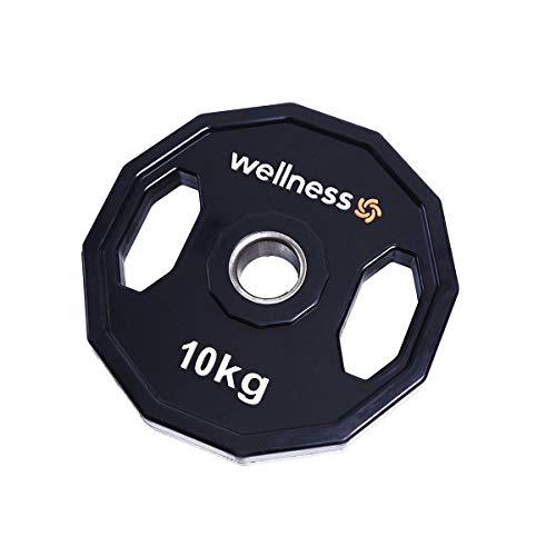 Anilha Poliuretano Furação Olímpica 12 Faces com Pegada 10kg Wellness