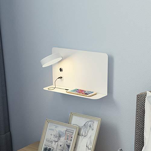 LIUJIE leeslamp met USB opladen aan de muur, creatieve rack header, verstelbaar, wandverdeler met 12 W, 780-900 lm, wit