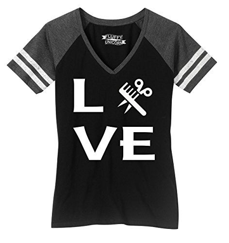 Ladies Game V-Neck Tee Love Hairstylist Cute Barber Gift Tee Black/Heathered Charcoal L