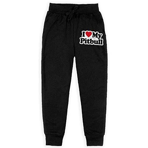 Men's Elastic Sweatpants, 100% Cotton I Love My Pitbull - My Pitbull is My Best Friend Jogger Pants for Youth Black