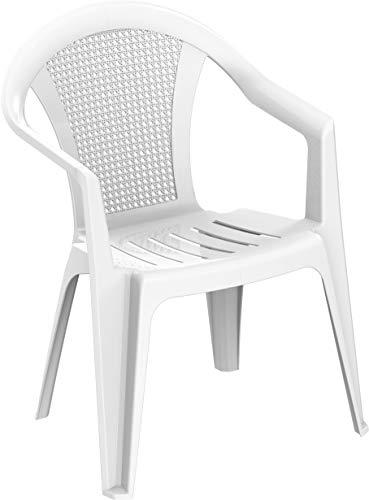 Duramax plástico de bambú con reposabrazos, sillas para Interiores y Exteriores, jardín, Patio, Comedor, hogar y Fiesta, Duradero, Resistente a la Intemperie y apilable, Color Blanco