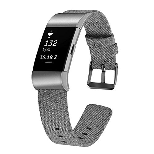Longzhuo Herren Damen Uhrenarmband Nylon Canvas Gewebe Armband Kompatibel für Fitbit Charge 2 Sportarmband Fitness Ersatzarmband Geschenk Sport Uhrenarmband Fitness Armband Wristband