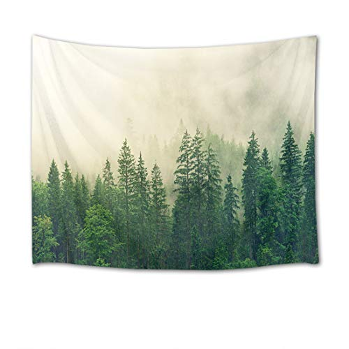 HVEST Forest Tapestry Green Trees with Fog in Mountain Wall Hanging Nature Tapestries for Bedroom Living Room Dorm Party Wall Decor,60Wx40H inches