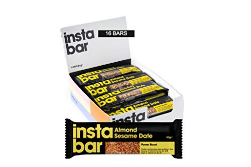 Instabar Almond, Sesame & Date Fruit and Nut Bar - Gluten & Lactose Free - (Pack of 16 x 35g Bars)