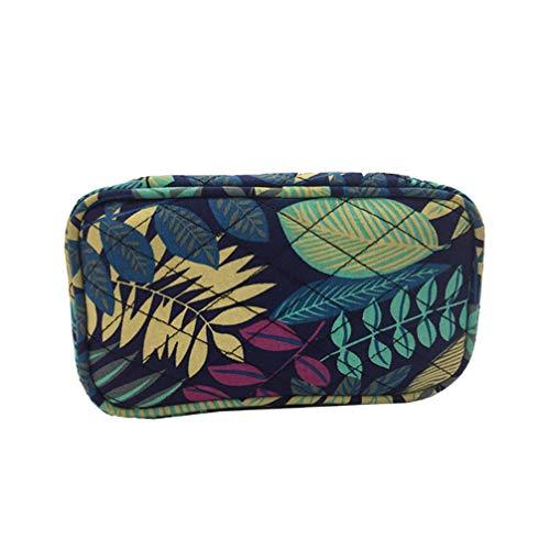 Lurrose 10 Emplacements Dhuiles Essentielles Étuis Toile de Coton Sacs de Transport Portables Durable Sac de Rangement Imprimé Bleu