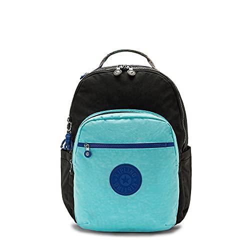 Kipling Women's Seoul 15' Laptop Backpack, Poseidon Black Block, 13.75'L x 17.25'H x 8'D