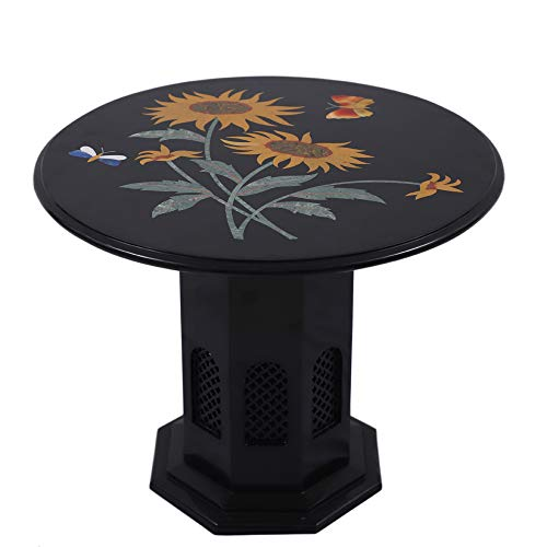 "Queenza 24"" Round Black Marble Coffee Table with Inlay Gemstones 