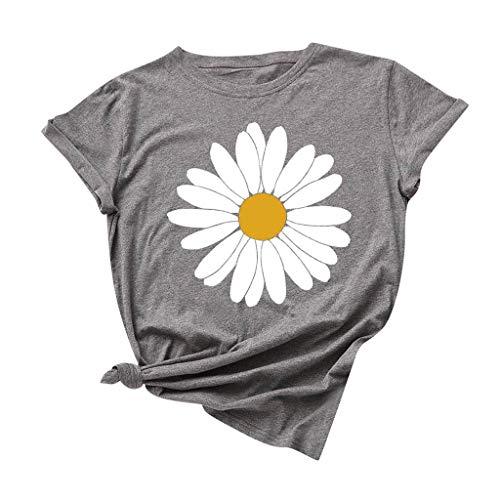 Dosoop Womens Summer Daisy Printed T Shirt Teen Girls Graphic Short Sleeve Casual Crewneck Cute Tees Tops Blouse