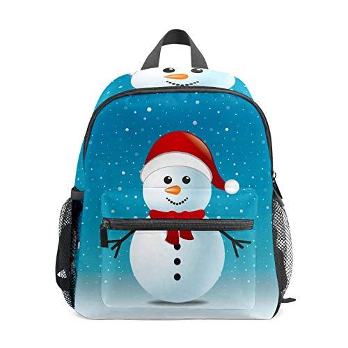 Mochila escolar para niños y niñas, bolsa de libros para estudiantes, informal, para viajes, para camping, senderismo, regalo de Navidad, diseño de muñeco de nieve