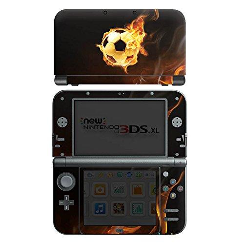 DeinDesign Skin kompatibel mit Nintendo New 3DS XL Folie Sticker Fußball Feuer Ball