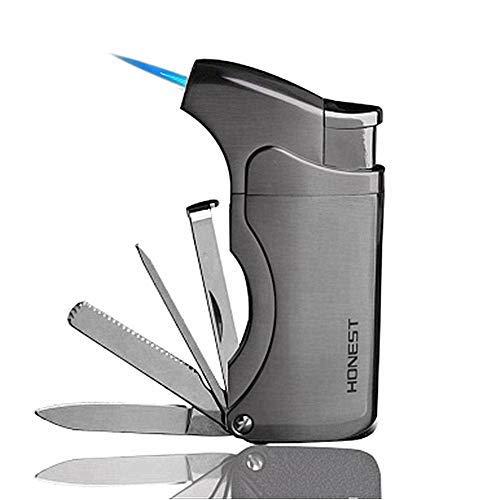 Mechero de tabaco multifunción 5 en 1, encendedor de cigarrillos recargable, resistente al viento, con 4 herramientas limpiadoras de tuberías, Gris, 1 Count (Pack of 1)