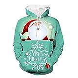 Aoogo Herren Damen Paare Kapuzenpullover Weihnachten Weihnachtsmann mit Hirsch 3D Drucken Hoodie Sweatshirt Kapuzen Sweatjacke Streetwear Outwear Blau