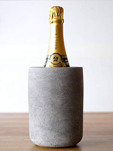 DEVIGA Beton Flaschenkühler/Wein- / Sektkühler aus Beton, möbelschonende Unterseite