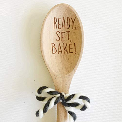 Etch & Ember Funny Wooden Spoon - Ready Set Bake - Wood Spoons - Gifts for Bakers