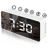 KENIY Horloge de chevet à LED avec température, réveil de contrôle vocal à luminosité réglable LED Carrousel...