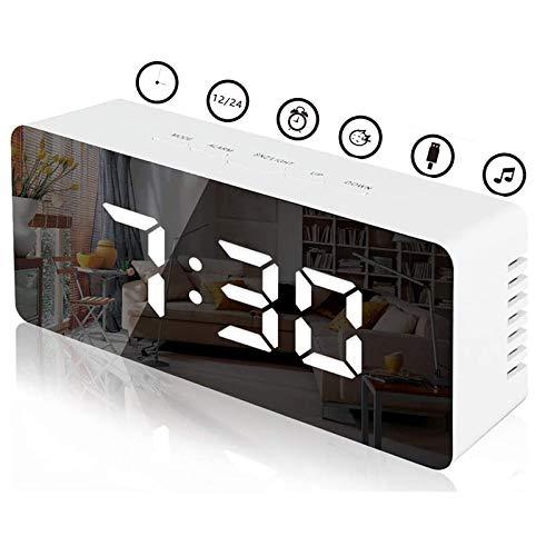 KENIY Digital Mirror Alarm, LED Bedside Clock with Temperature, Snooze,Makeup Mirror Adjustable Brightness LED Carousel Clock ,Dual Purpose USB Port or Battery Powered Alarm Clock