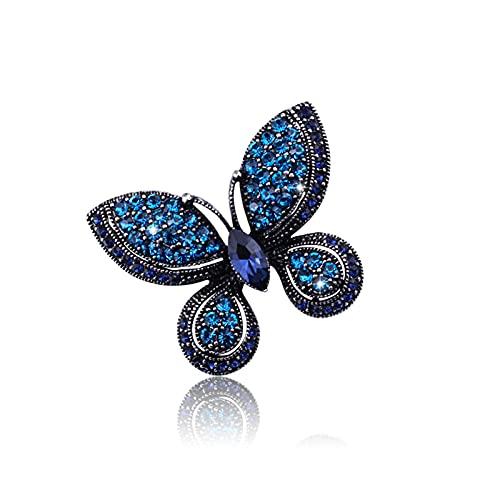 CLEARNICE Precioso Azul Austriaco Cristal Mariposa y broches de Animales Pines para Mujer niña joyería Europea Bufanda broches Insignia
