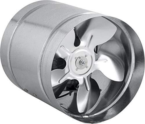 STAHL Axial Rohrlüfter Zuluft/Abluft Rohrventilator Lüfter. Größen wählbar: 150, 160, 210, 250, 315,350 mm. Gehäuse aus verzinktem Stahl. Kanallüfter für Dauerbetrieb. (aRwS-160mm; 185 m3/h)