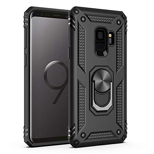 Military Grade Drop Impact for Samsung Galaxy S9 Case 5.8 inch 360 Metal Rotating Ring Kickstand Holder Magnetic Car Mount Armor Heavy Duty Shockproof Cover for Galaxy S9 Phone Protection Case (Black)