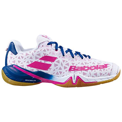 Babolat Shadow Tour Damen weiß/pink Badmintonschuh Hallenschuh 2020 Topmodell extrem Gute Dämpfung und Halt (39)