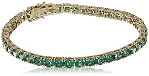 Women's Yellow Gold Plated Sterling Silver Swarovski Zirconia Green Round Shape Tennis Bracelet, Size 7.25 Inches