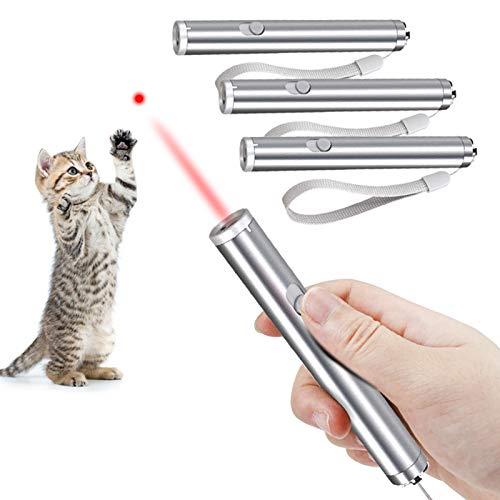 Faburo 4 Piezas Juguetes Gatos, Juguetes interactivos para Gatos, 2 en 1 Función Mascota Gato Captura Juguetes de Entrenamiento (Baterías no Incluidas)