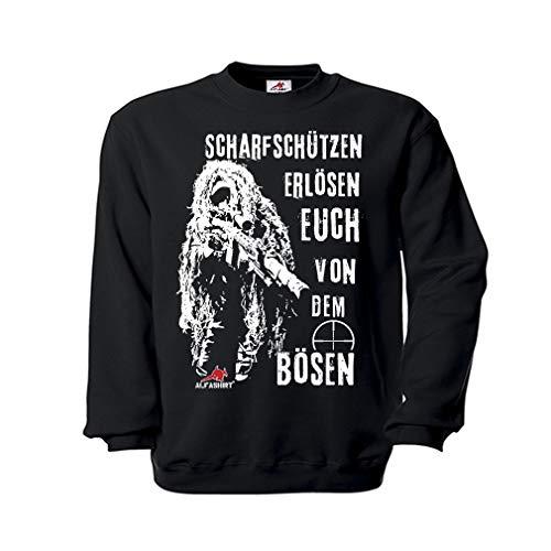 Copytec Pulli Scharfschützen erlösen euch von dem Bösen Sniper Bundeswehr Ghillie Suit Anzug Humor Moral Spruch Fun #21632, Größe:S, Farbe:Schwarz