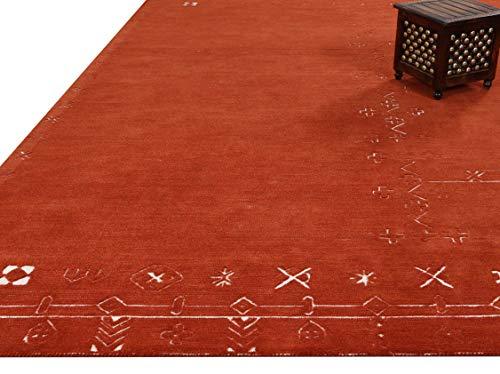 Alfombras y alfombras de Arria Nomad Motifs de color óxido de 250 x 300 cm, hechas a mano, 100% lana