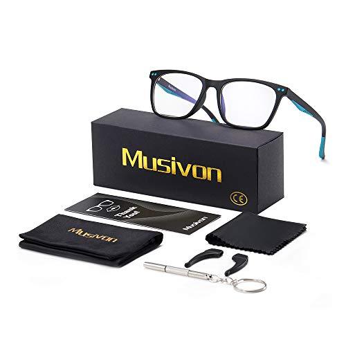 Musivon Computerbrille, blaues Licht, blockiert blaues Licht, für Kinder, Jungen, Mädchen, Teenager, Kinder, Gaming-Brille, reduziert Überanstrengung der Augen (Sand Black)