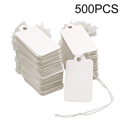 500 pcs Etichette Regalo Bianche Cartellini Prezzi Mini Etichette Carta Kraft con cordino 4.5 cm x 2.5 cm per abbigliamento gioielli