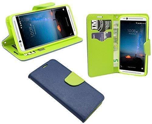ENERGMiX Elegante Buch-Tasche Hülle kompatibel mit ZTE AXON 7 Mini in Blau-Grün (2-Farbig) Leder Optik Wallet Book-Style Cover Schale