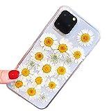 3C Collection Fundas iPhone 11 Pro Flores Margarita, Fundas iPhone 11 Pro Transparente, Flores Secas Reales Ultra Delgado Fundas para iPhone 11 Pro