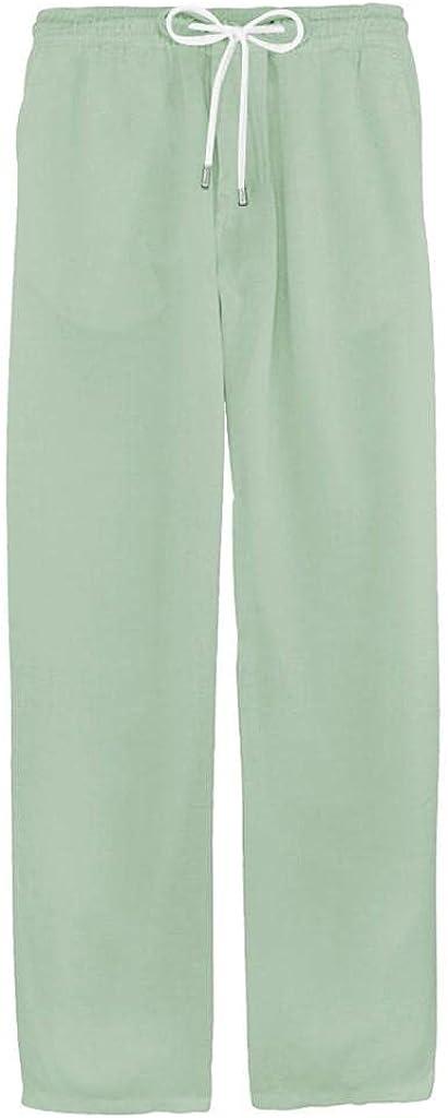 Sweatpants for Men Casual Loose Lghtweight Linen Pants Drawstring Elastic Waist Jogger Yoga Beach Trousers
