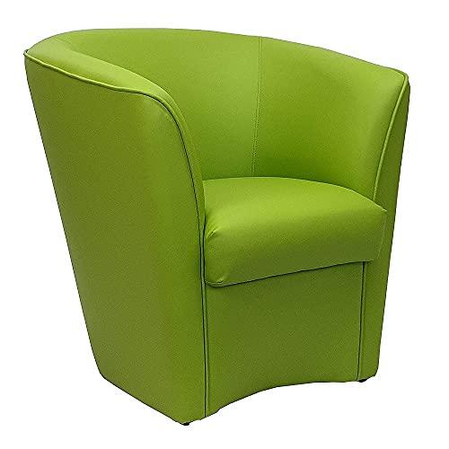 Poltrona Imbottita Valentina a pozzetto in Ecopelle per Ufficio Sala d'attesa Alta qualità Made in Italy (Verde)
