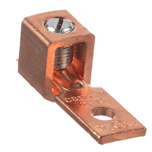パンドウイット 国内正規品 銅製メカニカルコネクター 1穴 シングルバレル ストレート浮動タン型ラグ マイナスネジ AWG2 -AWG1/0 取付穴6.4mm 25個入 CS125-14SL-QY