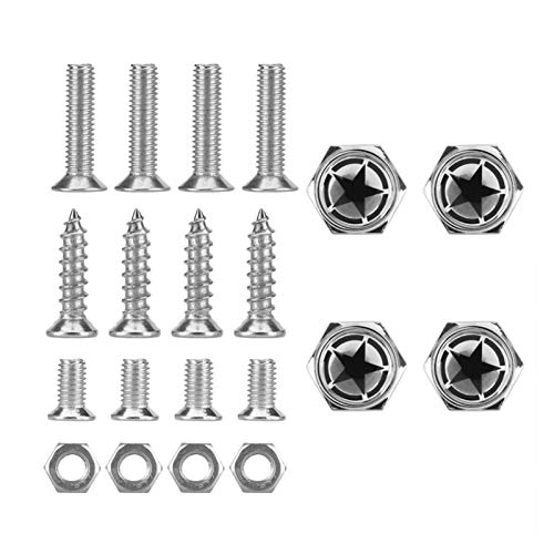 Wishful Chrome Metal Land Force Pentagram Logo Anti-theft Car License Plate Bolts Frame Screws,Pack Of 4,car Accessories (Color Name : Silver)
