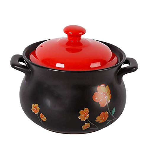 YLJYJ Olla de cerámica para Avena - Cazuela de Plato Negro Redondo de cerámica/Olla de Barro/Olla de Barro/Utensilios de Cocina de cerámica (Color: B) (Exterior)