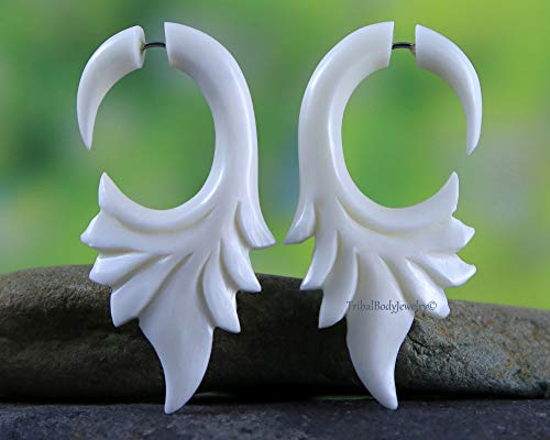 Tribalbodyjewelry Carved Bone Cheater Gauge Fake Plug Earring Hooks From Amazon Daily Mail