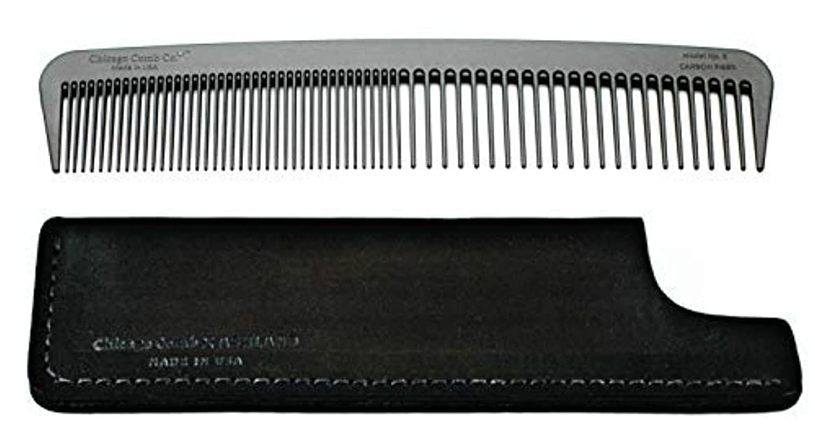 陽気なウェイターシーズンChicago Comb Model 6 Carbon Fiber Comb + Dublin Black Horween leather sheath, Made in USA, ultimate styling comb, for men & women, ultra smooth strong & light, anti-static, American-made leather case [並行輸入品]
